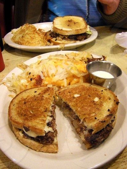 Patty melt with hash browns photo