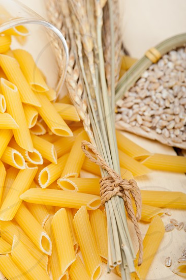 short Italian pasta penne with durum wheat grains photo