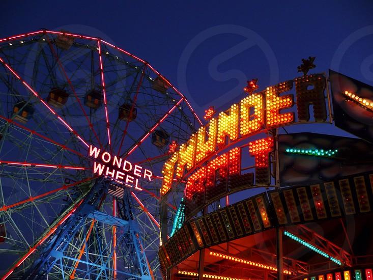 wonder wheel and thunder bolt carnival rides photo