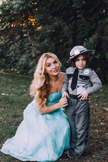 Halloween costume mother and son police officerprincessblonde trick or treat photo