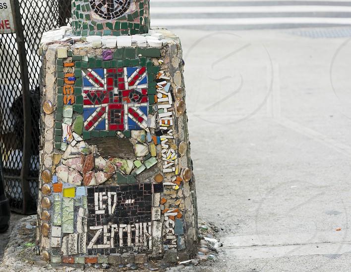 New York USA november 2016: detail of a Jim Power mosaic on a street pole photo