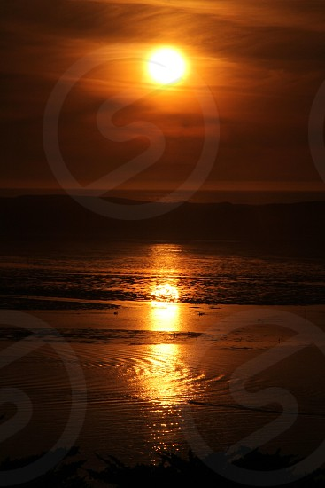 gold sunset gold sunset ocean sea waves seashore photo