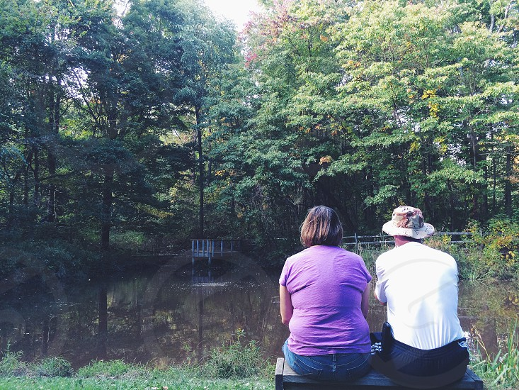 Parents in bench in woods nature love marriage forests green.  photo