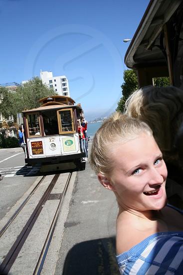 girl riding ferry photo