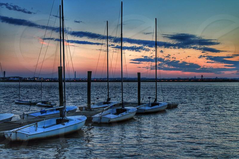 Sunset over Potomac river marina National Airport photo