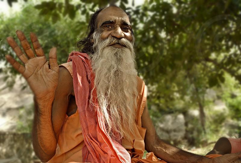 A wise Baba in Pushkar India. photo