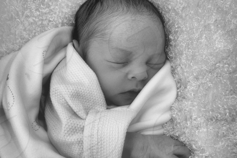 Baby Girl in Black and White photo