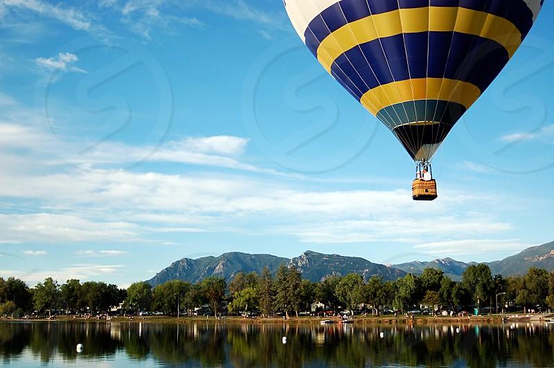 Colorado Springs hot air balloon lake Rocky Mountains photo