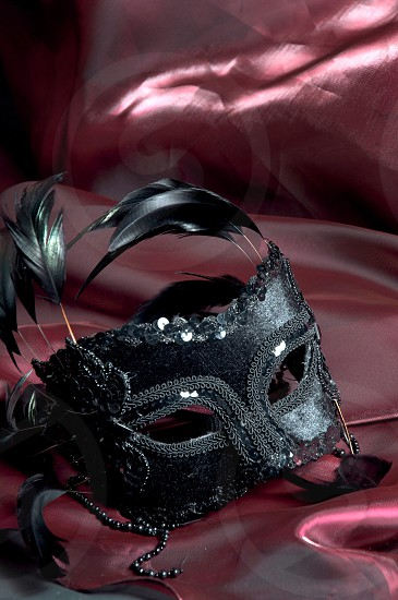 black mask with feathers photo