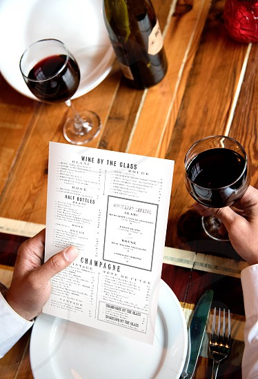 wine menu setting photo