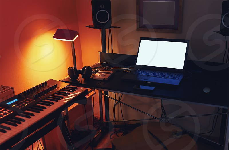Details of small modern and simple home recording studio. photo
