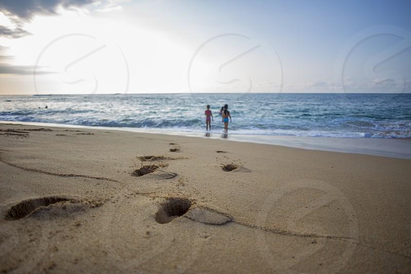 beach hawaii north shore sunset beach sunset kids fun playing bliss adventure  photo