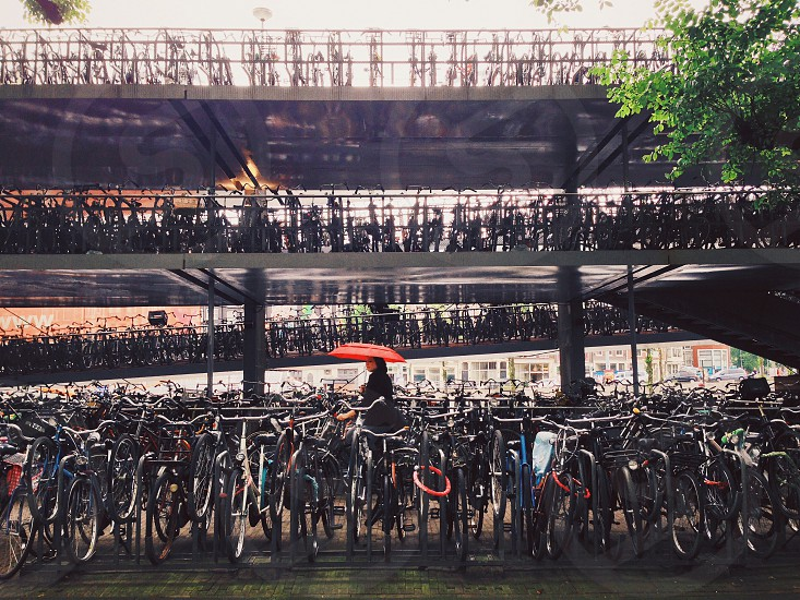 Bikes and rain. photo