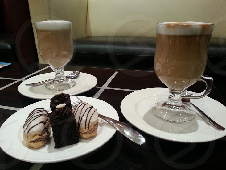 lattes and pastries photo