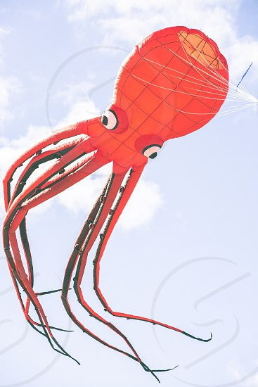 Flying kite with red Octopus-shaped animal  photo