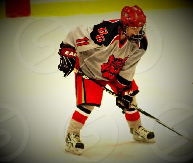 Hockey player awaiting the puck drop. photo