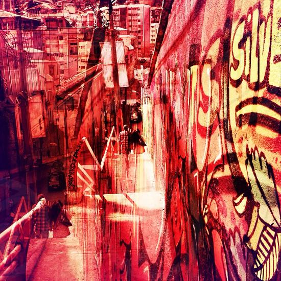 red wall graffiti  photo