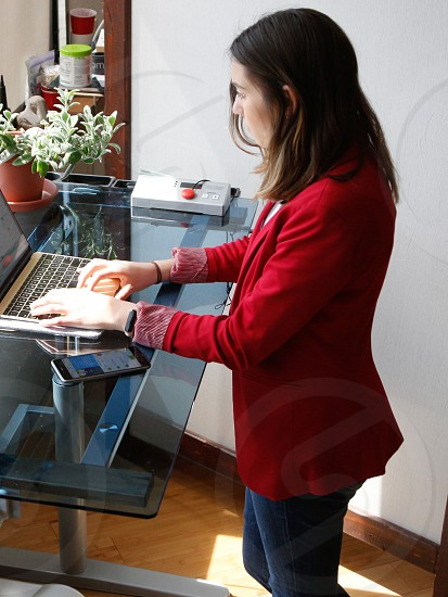 business apple working office healthy computer startup millennial standing desk photo