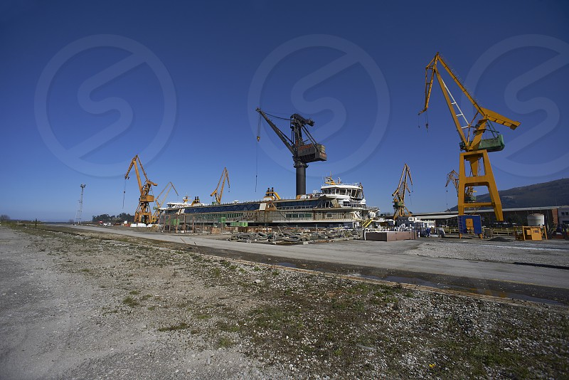New cruise ship being built in the docks photo