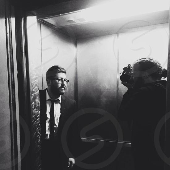 Photo shoot in elevator photo