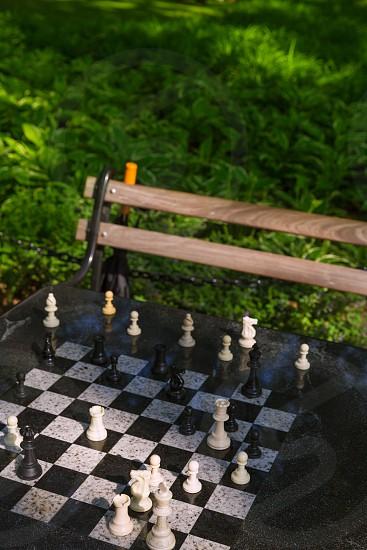 Chess chessboard in Washington Square Park Manhattan in New York USA photo