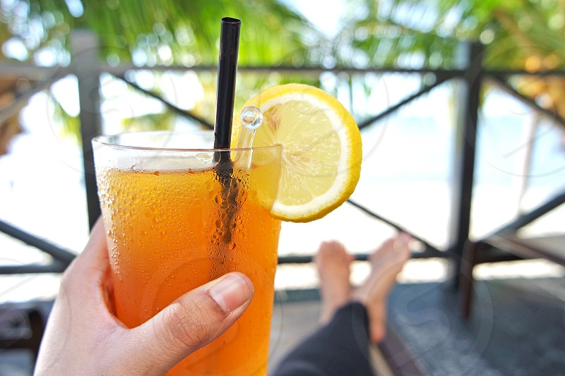 #summer #vacation #holiday #beach #view #beverage #drinks #relaxing #iced lemon tea photo