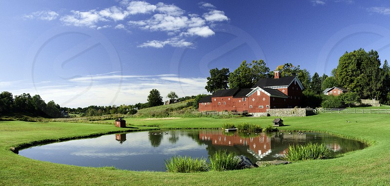 man made pond on green grass lawn photo