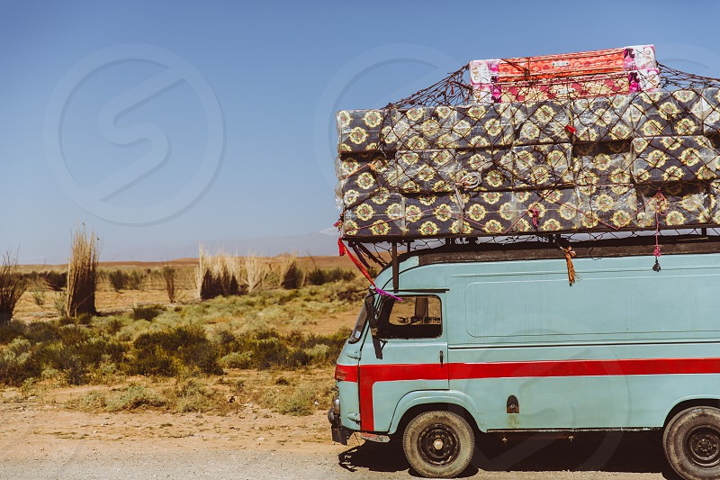 Van camping travel adventure road trip camper camper van bus vehicle morocco luggage red field day summer photo