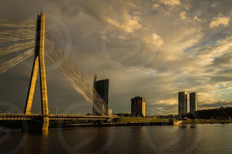 View of the Vanšu Bridge in Riga at dawn photo