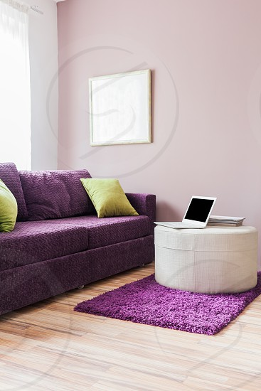 Living room furniture decor working at home photo