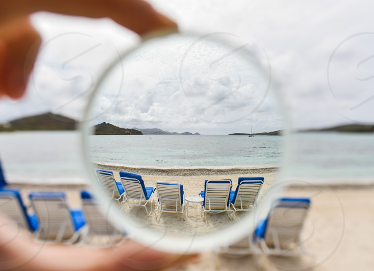 beach cloudy tropical virgin islands sand ocean islands chairs lounge photo