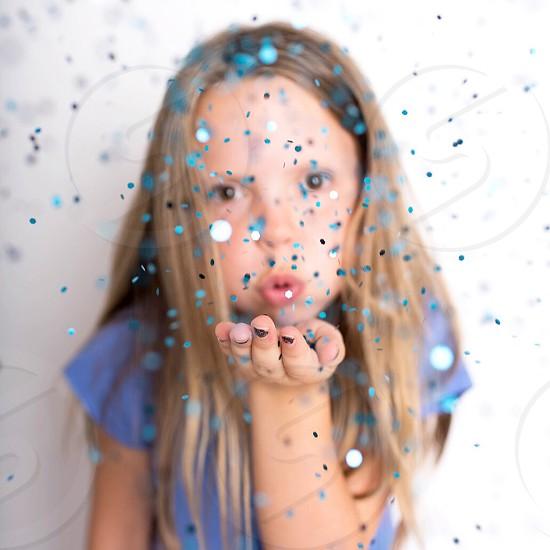 Glitter party celebrating celebrate fun kids girl sweet birthday photo