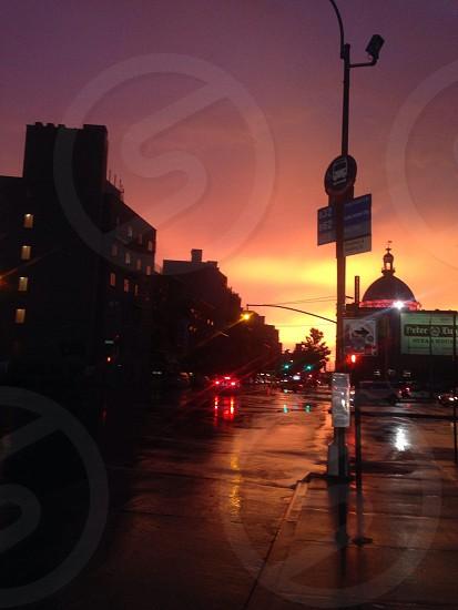 Sunset city skyline New York  photo