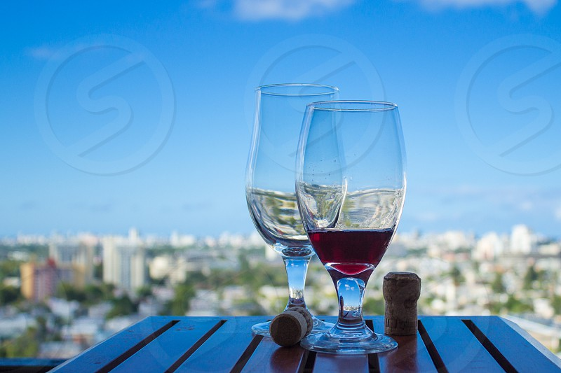 2 wine glass on table  photo