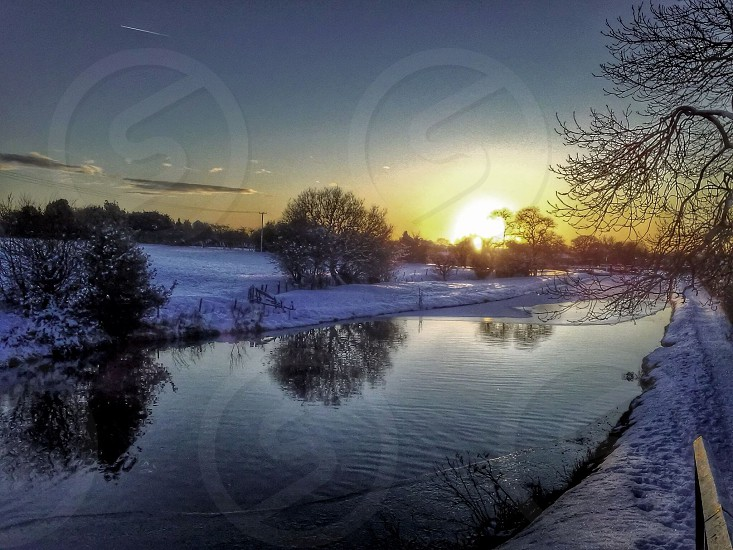 Winter reflections Leeds to Liverpool Canal United Kingdom photo
