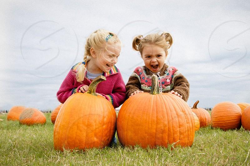 kids halloween fall pumpkin patch fun girls minors cute funny quirky photo
