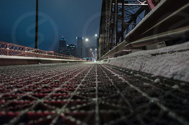 Ground view on the icy Hawthorne Bridge in Portland Oregon.  photo