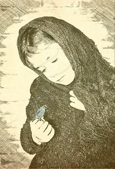 Mono girl bird shawl  photo