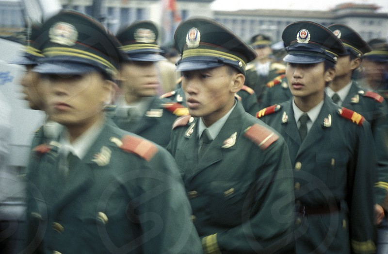 the army in the old town in the city of beijing in the east of china in east asia.  photo