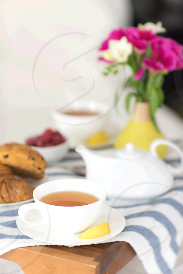 Breakfast in Bed with Tea and Flowers photo