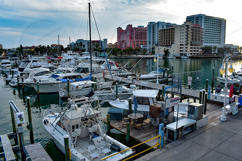 Clearwater Beach Florida. January 25 2019. Aerial view of Clearwater Beach Marina in Gulf Coast Beaches (1) photo