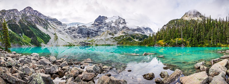 Daytime Mountain Panorama with Beautiful Turquoise Glacier Fed lake. Joffre Lakes Provincial Park British Columbia Canada photo