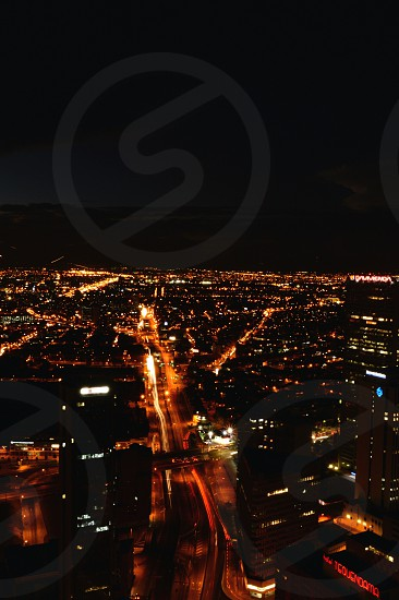areal photo of lighted city during night time photo