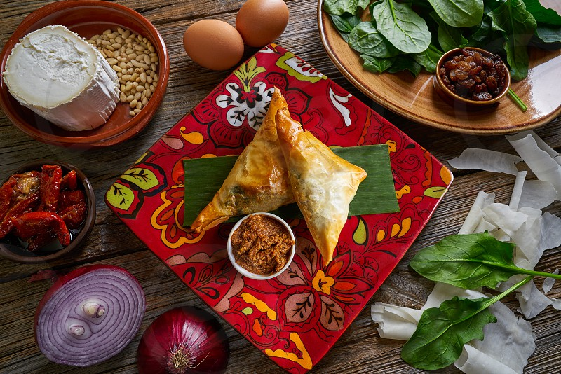 Spinach and cheese Briouat Moroccan recipe  filo pastries parcels photo
