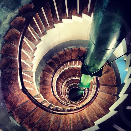 Circular spiral staircase interior photo