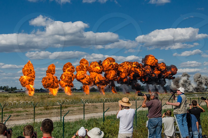 Explosions after simulated bombing. Radom Poland. photo