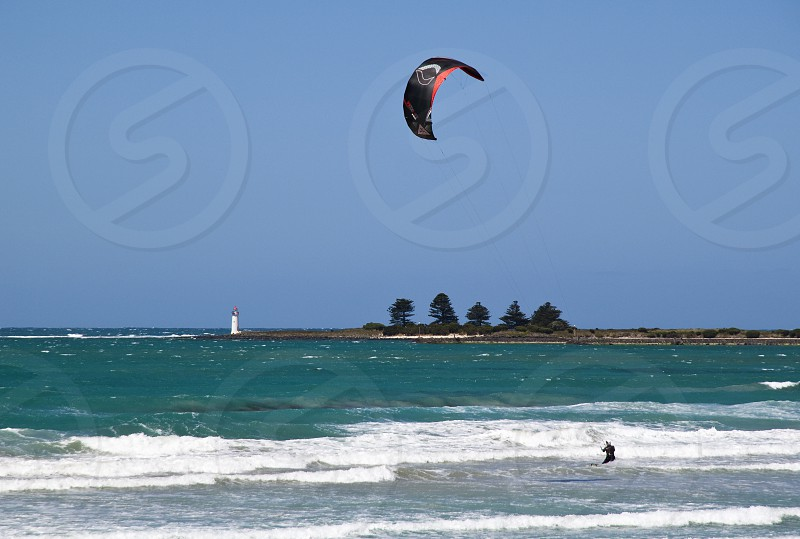 Wind surfing on Australia's rugged Great Ocean Road at Port Fairy. photo