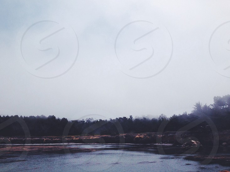 Hazy sky over a lake photo