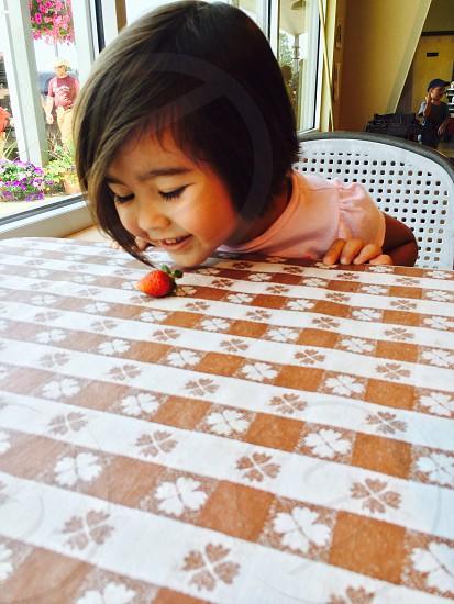 Strawberry on pattern photo
