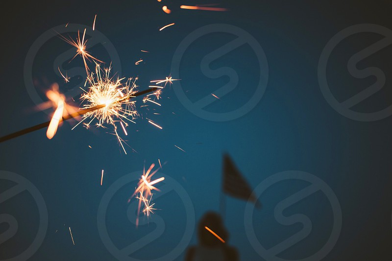 July 4th Fourth of July fireworks sparklers flag American  photo